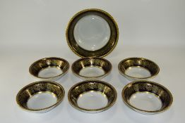 Solian Ware Fruit Bowl With Six Matching Dessert Dishes. Gold Leaf Border with Gilt Trim. Fruit Bowl