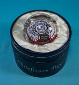 Whitefriars Crystal Paperweight. Silver Jubilee of the Queen and Duke of Edinburgh 1952-1977.