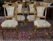 Set Of 4 Modern Oak Framed Dining Chairs Padded Backrests And Seats, Of Solid Construction