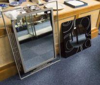 Modern Decorative Wall Mirror, Grey Tubular Steel Frame, 37x27 Inches Plus One Other With Black Matt