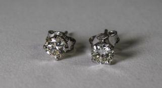 Pair Of 18ct White Gold Diamond Stud Earrings,