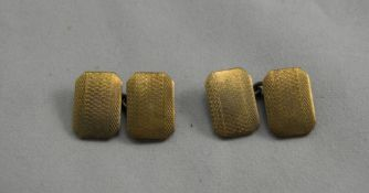 A Vintage Pair of 9ct Gold and Silver Cufflinks. Marked 9ct Gold and Silver. Good Condition. 8.3