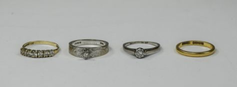 Four Gold Rings, Comprising 18ct White Gold Ring, 22ct Wedding Band, 9ct CZ Ring + 1 Other.
