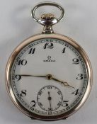 Omega Slim line - Medal Winner Silver and Gold Plated Open Faced Pocket Watch. c.1900-1910.