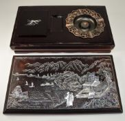 Oriental Lacquered Smokers Companion, Mother of Pearl Inlaid Cover, Interior with Bronzed Metal