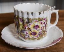 German Late 19th Century Moustache Large Cup and Saucer with Printed Floral Decoration.