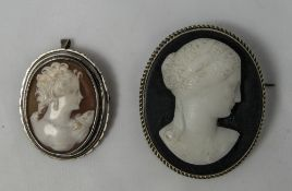 Antique - Nice Quality Silver Mounted Cameo Brooches ( 2 ) In Total. One Cameo In The Classical