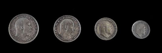 Edward VII Silver Maundy Set of 4 Coins, Dated 1904. 4d, 3d, 2d and 1d.