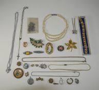 Box Containing A Mixed Lot Of Costume Jewellery To Include Beads, Bracelet, Chains, Brooches,