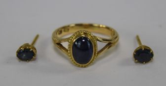 High Carat Gold Asian Ring And Earring Set Mounted With Small Cabochon Sapphires,