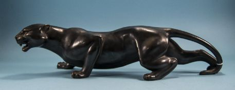 20thC Bronze Cased Figure Of A Black Panther In A Pouncing Pose, Length 22 Inches, Slight Damage