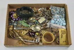 Mixed Lot Comprising Costume Jewellery, Brooches, Pendants, Chains, Beads, Rings, Watch Straps,