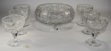 Set Of Six Cut Glass Sundae Dishes, height 5 inches, diameter 4 inches. Together with cut glass bowl
