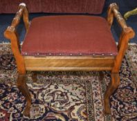 Early 20thC Piano Stool, Hinged Padded Seat