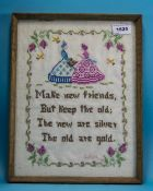 Framed Sampler Depicting 2 Figures And Text 'Make New Friends But Keep The Old, The New Are Silver