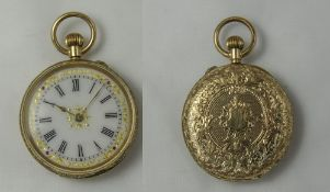 A Fine 14ct Gold Cased - Keyless Fob Watch,