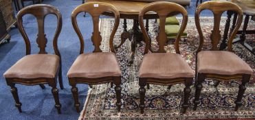 Set Of 4 Mahogany Balloon Back Dining Chairs, Padded Seats, Turned Front Legs