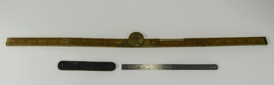 Victorian J Rabone & Sons Boxwood & Brass Mounted Combination Folding Rule And Level, 2 Ft Long,