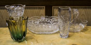 Collection Of Glass Comprising 2 Vases, A Basket And Bowl, Together With A Coloured Green Glass