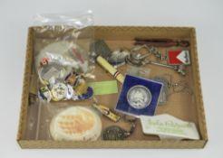 Mixed Lot Comprising Pin Badges, Coronation Pen, Spoon, Decanter Label, Key rings, Dog Tag, Beswick,