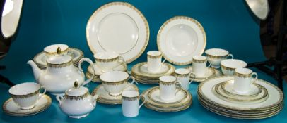 Royal Doulton Fine Bone China ( 62 ) Piece Dinner, Tea and Coffee Service ' Gold Lace ' Pattern H.