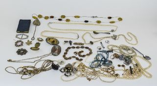 Mixed Lot Of Costume Jewellery Comprising Bangles, Beads, Necklaces & Pendants Etc.