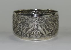 Indian Silver Hunting Bowl Peacock Mark To Base, Embossed Throughout Depicting Figures, Animals,