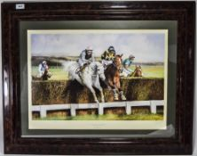Max Brandrett Limited And Numbered Edition Colour Print, Desert Orchid and Simon Sherwood Winning