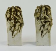 A Pair of 20th Century Resin / Ivorine Sculptured Figure, Possibly Japanese.