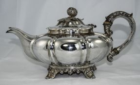 William IV - Fine Melon Shaped Silver Teapot, Raised on Shell Splayed Feet, with Embellished