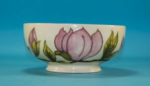 W. Moorcroft Monogrammed Footed Bowl ' Pink Magnolia ' Design on Cream Ground. Mint Condition. 3.