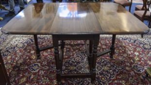 Mahogany Gate Legged Drop Leaf Table, Plain Turned Supports