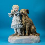 Robinson and Lead Beater Large Hand Painted and Rare Bisque Figure, Title 'Don't be Greedy' Child