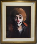 Large Larry Rushton Signed Picture. Depicting a Clown. Signed to Lower Right. Mounted and Framed