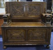 19thC Oak Carved Monks Bench Profusely Carved Throughout, Panelled Front, Sides And Top, Stylised
