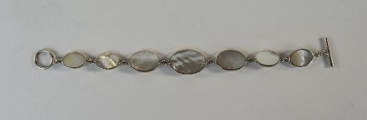 Silver And Mother Of Pearl Bracelet, Graduating Oval Mother Of Pearl, T Bar Fastening,