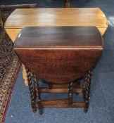 Early 20thC Golden Oak Gateleg Drop Leaf Table, Barley Twist Supports, Height 28 Inches, Top 35x45