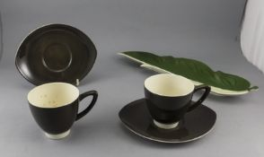 Carlton Ware Set of Two Dark Grey Cups and Saucers. Together with a leaf shape tray.