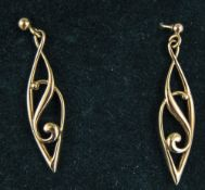 Ola Gorie Pair of Ladies 9ct Gold Pair of Earrings, Fully Hallmarked, Boxed. Each 1.5 Inches High. 4