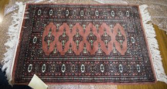 Prayer Rug From Pakistan, Made Of Bomull In Salmon Red Geometric Pattern, 63x91cm