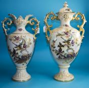 Two Large Staffordshire Pottery Vases, Floral Design, A/F