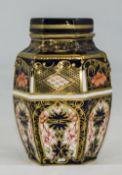 Royal Crown Derby Imari Pattern 6 Sided Lidded Jar. Date 1920, 4.75 Inches High.