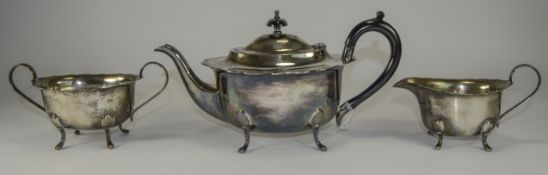 Three Piece Silver Plated Tea Service, comprising teapot with bakelite handle, two handled sugar