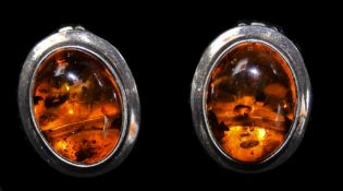 Isle Of Mull Pair Of Silver Earrings Set With Amber Stones.