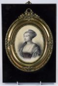 A Coloured Print of a Victorian Lady In a Copper Mount on an Ebony Frame 10 x 7 Inches.