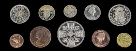 Queen Elizabeth - 10 Coin 1953 Coronation Proof Set. Crown to Farthing, From The Royal Mint.