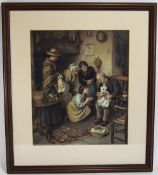Early 20th Century Pears Colour Print, Interior Scene Happy Days with Grand Father, Baby and