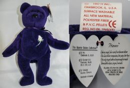 Ty Beanie Babies Rare First Edition Purple Princess Di Bear. One of Only 100, Produced In 1997. Hand
