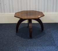 Early 20thC Low Table Octagonal Top Raised On 3 Arched Legs, Terminating Castors, Height 13