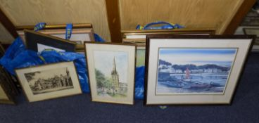 Collection Of 17 Framed Pictures Comprising Oils, Watercolours And Prints, Mostly Unsigned Or
